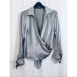 Lafayette 148 Silk Pinstripe Wrap Blouse